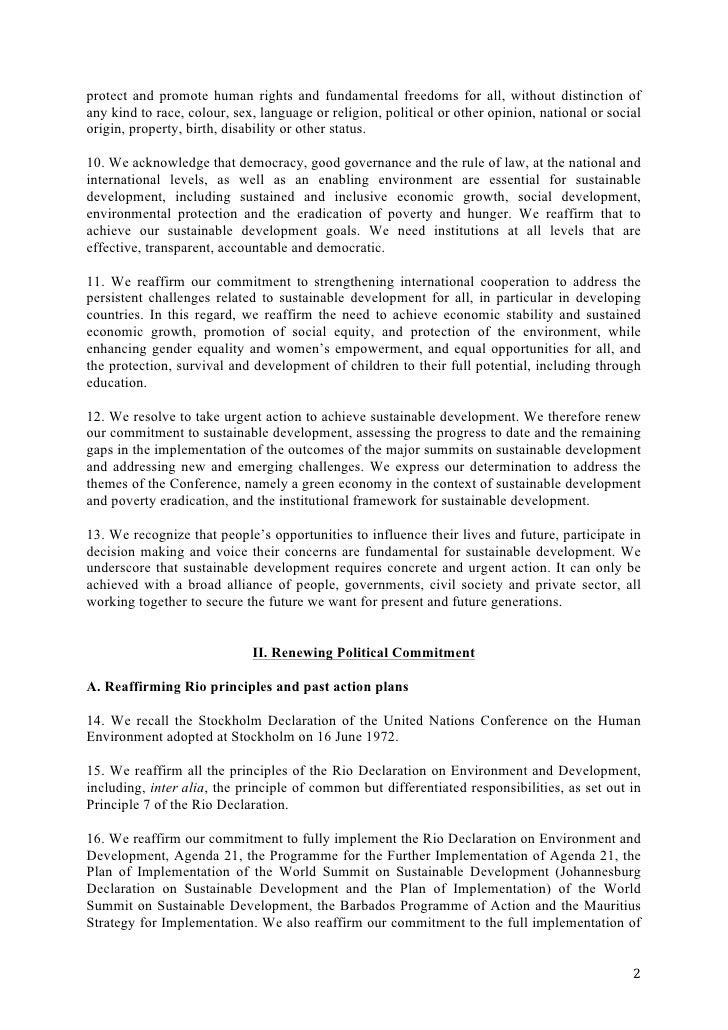 The Future We Want Rio+20 Outcome Document Slide 2