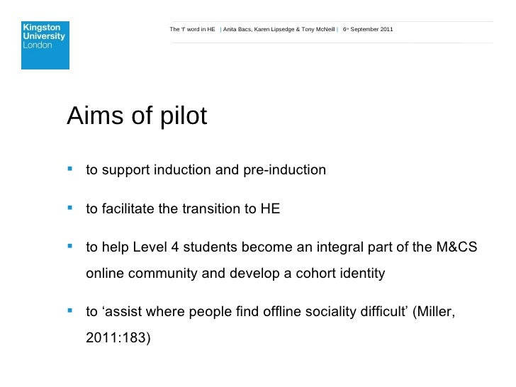 The 'f' word in HE  |  Anita Bacs, Karen Lipsedge & Tony McNeill  |  6 th  September 2011 Aims of pilot <ul><li>to support...