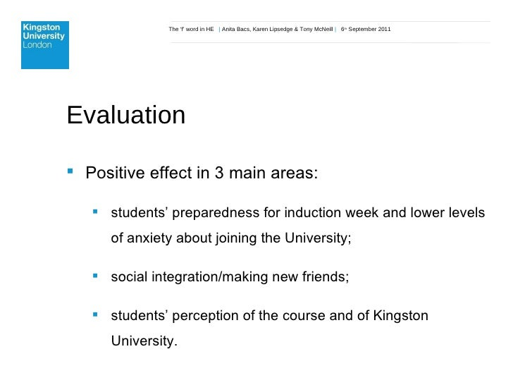 The 'f' word in HE  |  Anita Bacs, Karen Lipsedge & Tony McNeill  |  6 th  September 2011 Evaluation <ul><li>Positive effe...