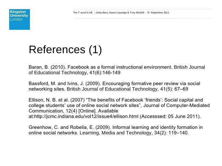 The 'f' word in HE  |  Anita Bacs, Karen Lipsedge & Tony McNeill  |  6 th  September 2011 References (1) Baran, B. (2010)....