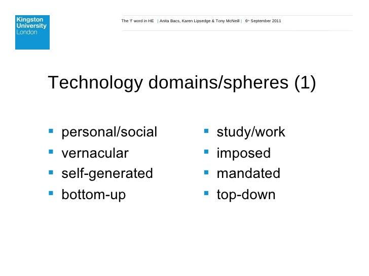 The 'f' word in HE  |  Anita Bacs, Karen Lipsedge & Tony McNeill  |  6 th  September 2011 Technology domains/spheres (1)  ...