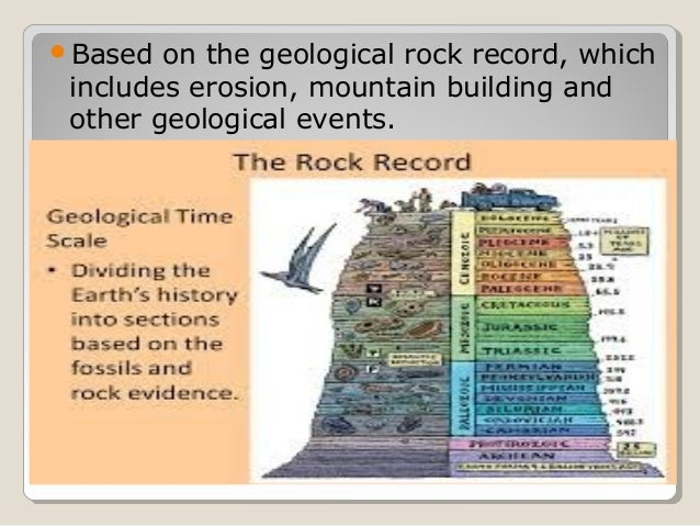 Based on the geological rock record, which includes erosion, mountain building and other geological events.