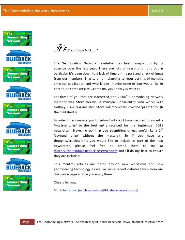 The Geomodeling Network Newsletter                                                               July 2011                ...