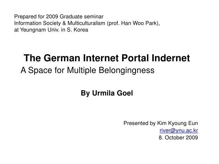 Prepared for 2009 Graduate seminarInformation Society & Multiculturalism (prof. Han Woo Park),at Yeungnam Univ. in S. Kore...