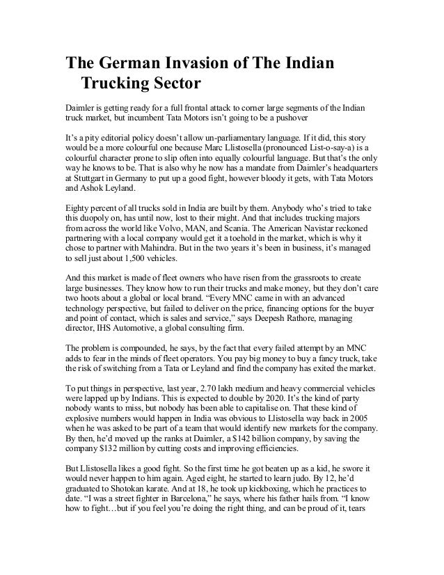 The German Invasion of The Indian Trucking Sector Daimler is getting ready for a full frontal attack to corner large segme...