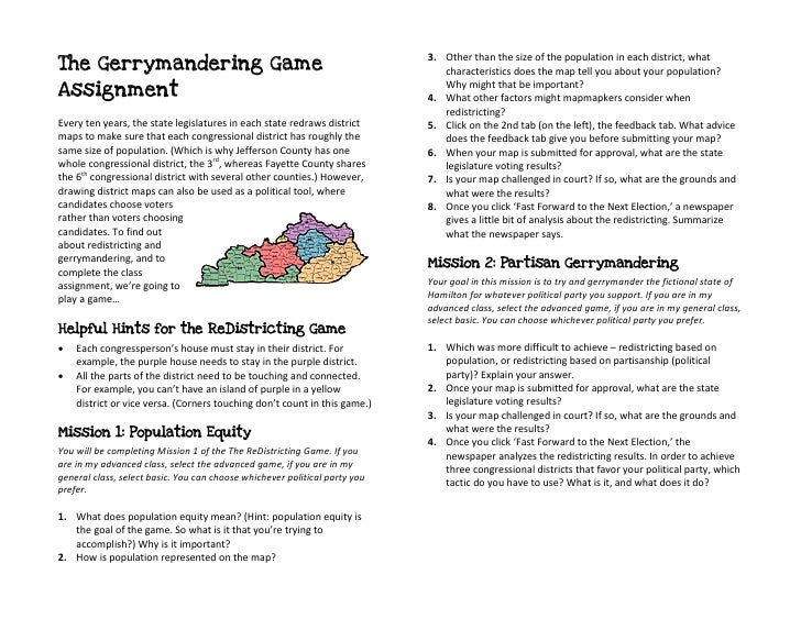3. Other than the size of the population in each district, what The Gerrymandering Game                                   ...