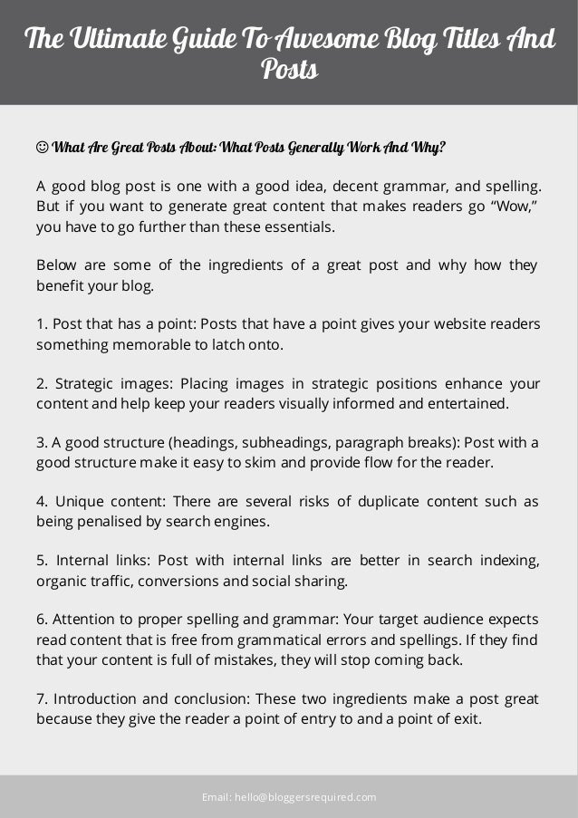 The getting started guide to awsome blog titles and posts