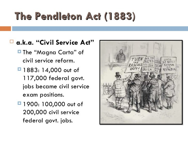 an introduction to the pendleton civil service act Pendleton civil service reform act the pendleton civil service reform act is a united states federal law, enacted in 1883, which established that positions within the federal government should be awarded on the basis of merit instead of political affiliation.