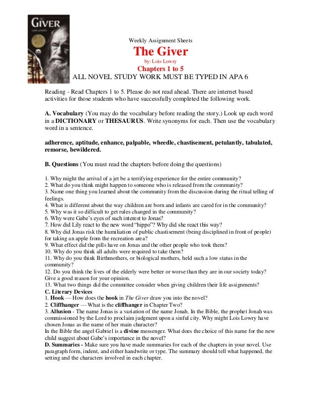 the giver chapter notes Study guide prepared by catherine bush barter playwright-in-residence the giver adapted by eric coble from the book by lois lowry especially for grades 4 and up.