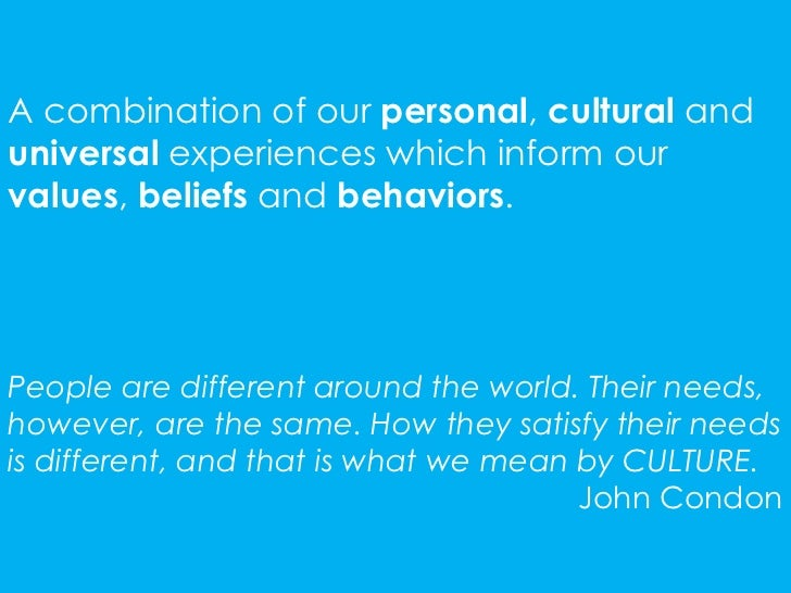 A combination of our personal, cultural anduniversal experiences which inform ourvalues, beliefs and behaviors.People are ...