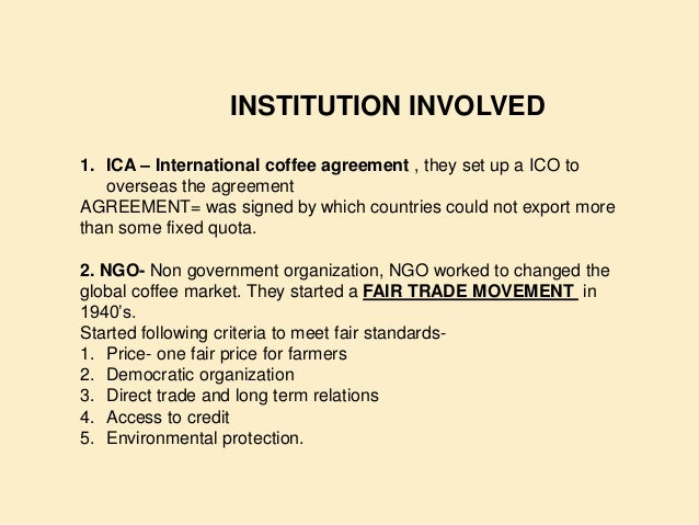 The Global Coffee Trade