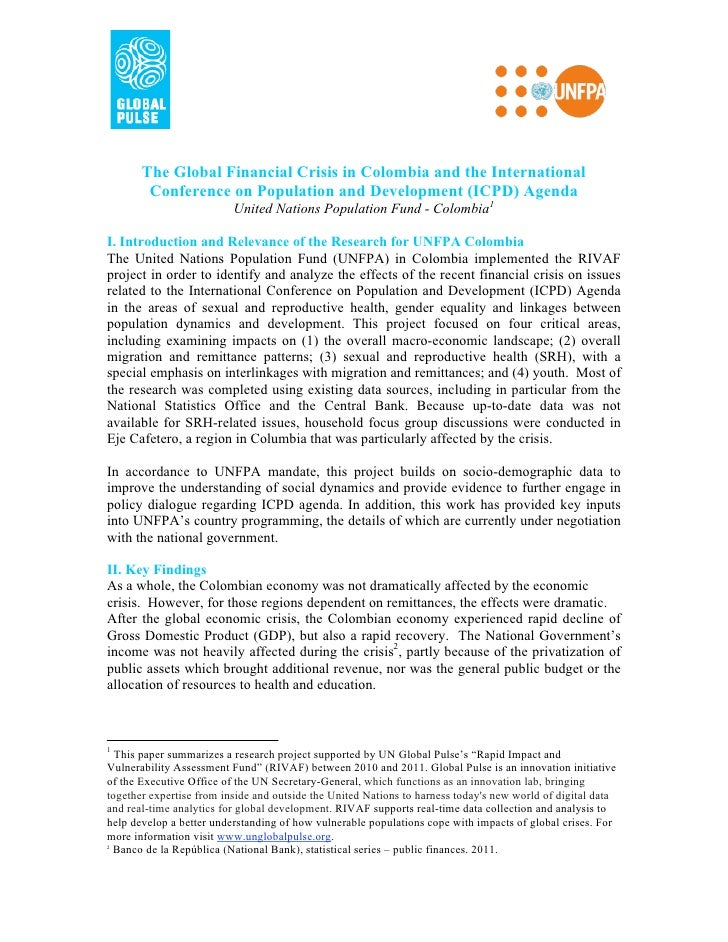 The Global Financial Crisis in Colombia and the International        Conference on Population and Development (ICPD) Agend...