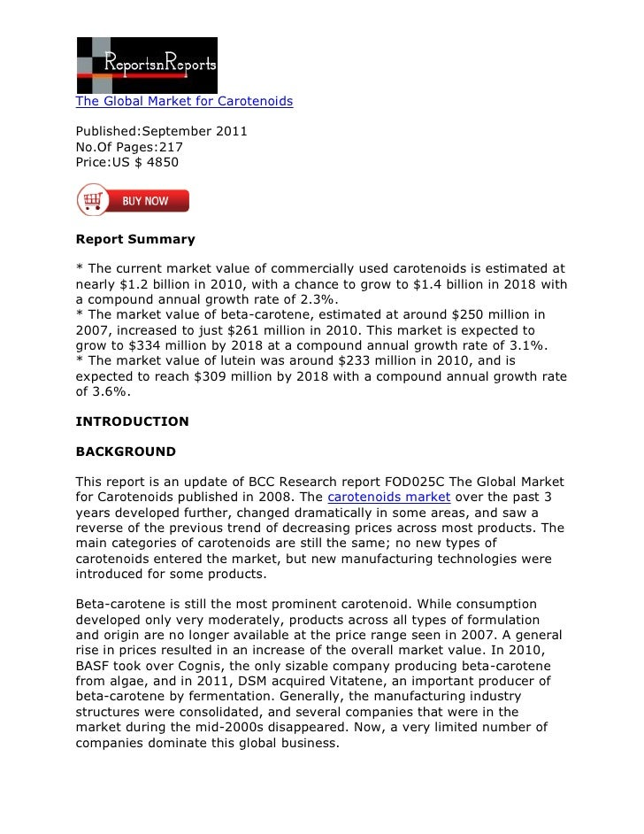 The Global Market for CarotenoidsPublished:September 2011No.Of Pages:217Price:US $ 4850Report Summary* The current market ...