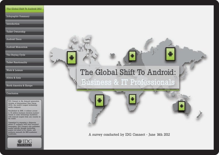 InfographicThe Global Shift To Android 2012Infographic SummaryIntroductionTablet OwnershipAndroid UsersAndroid MomentumThe...