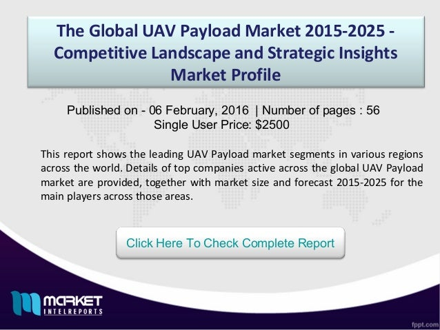 The Global UAV Payload Market 2015-2025 - Competitive Landscape and Strategic Insights Market Profile This report shows th...