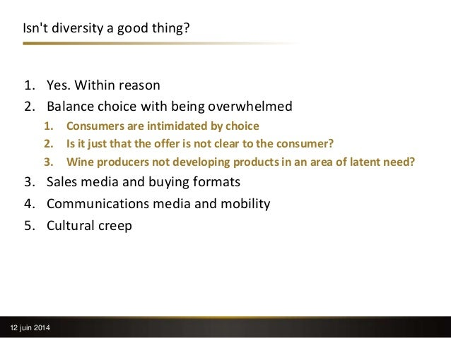 Isn't diversity a good thing? 1. Yes. Within reason 2. Balance choice with being overwhelmed 1. Consumers are intimidated ...