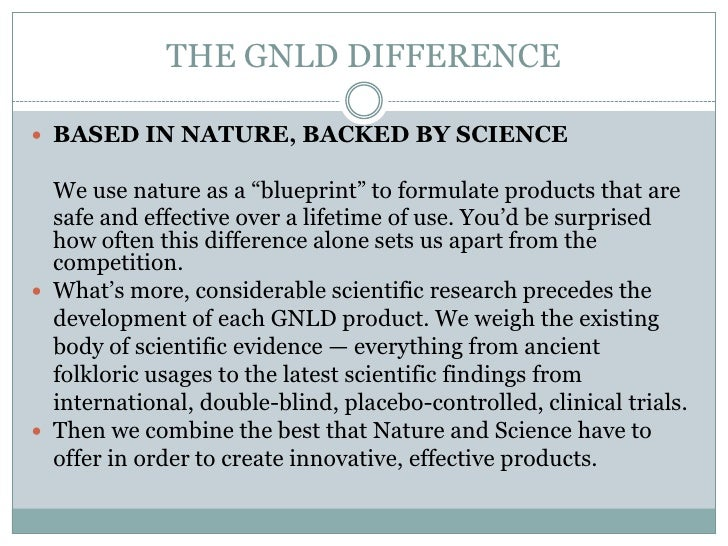 """THE GNLD DIFFERENCE BASED IN NATURE, BACKED BY SCIENCE  We use nature as a """"blueprint"""" to formulate products that are  sa..."""