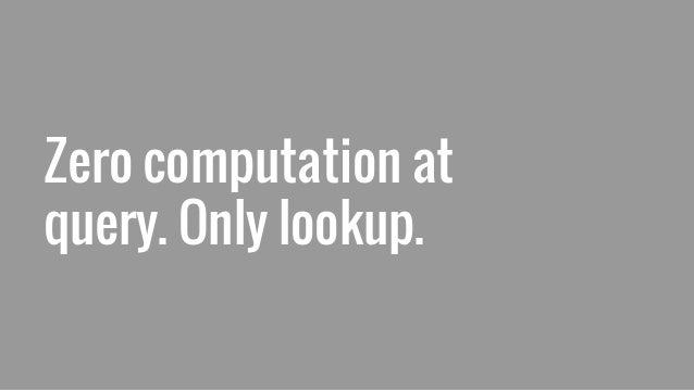 Zero computation at query. Only lookup.