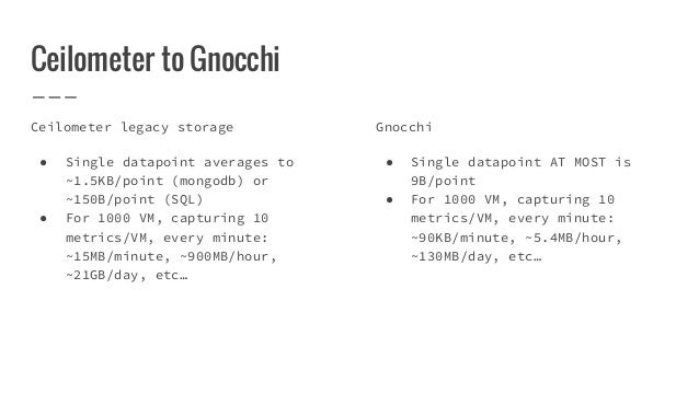 Ceilometer to Gnocchi Ceilometer legacy storage ● Single datapoint averages to ~1.5KB/point (mongodb) or ~150B/point (SQL)...