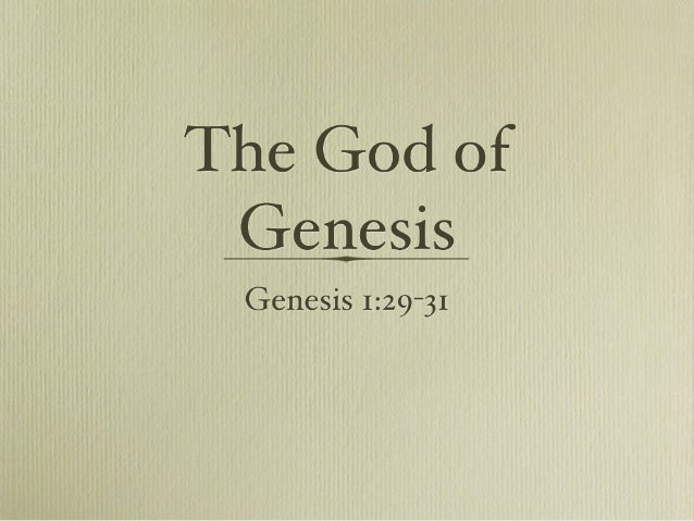 The God of Genesis