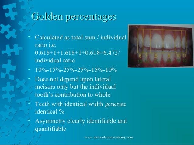 Golden percentagesGolden percentages • Calculated as total sum / individual ratio i.e. 0.618+1+1.618+1+0.618=6.472/ indivi...