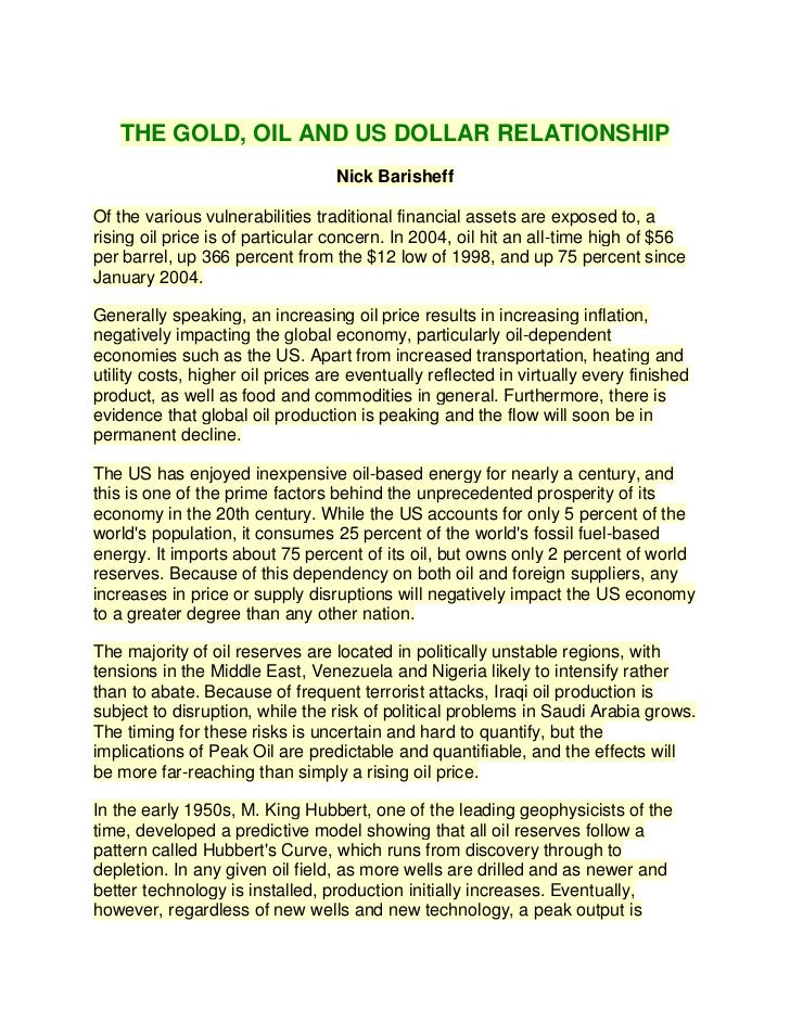 gold oil and us dollar relationship with