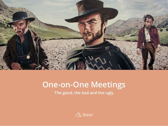 One-on-One Meetings The good, the bad and the ugly. Steer