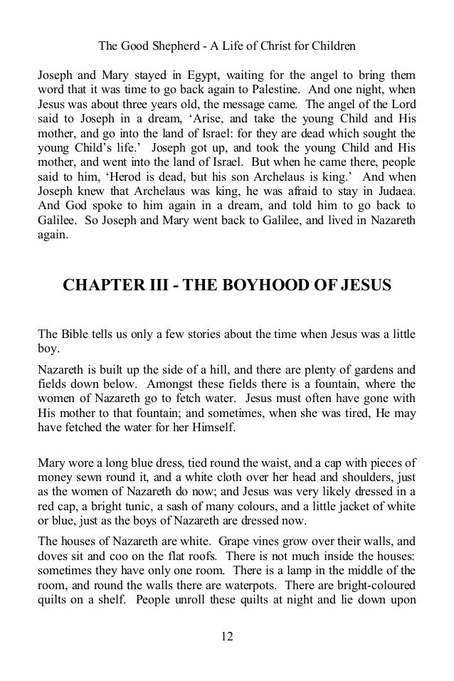 The Good Shepherd - A Life of Christ for Children Joseph and Mary stayed in Egypt, waiting for the angel to bring them wor...