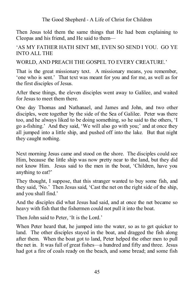 The Good Shepherd - A Life of Christ for Children Then Jesus told them the same things that He had been explaining to Cleo...