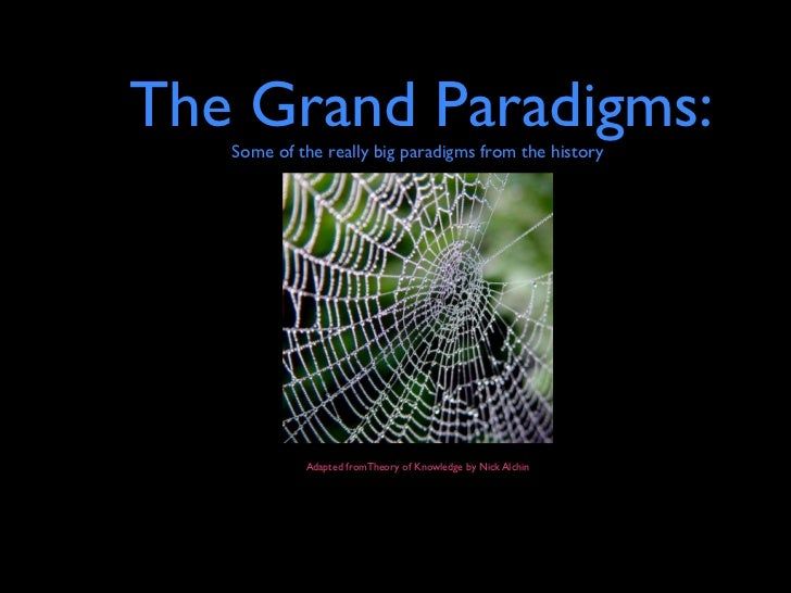 The Grand Paradigms:   Some of the really big paradigms from the history            Adapted fromTheory of Knowledge by Nic...