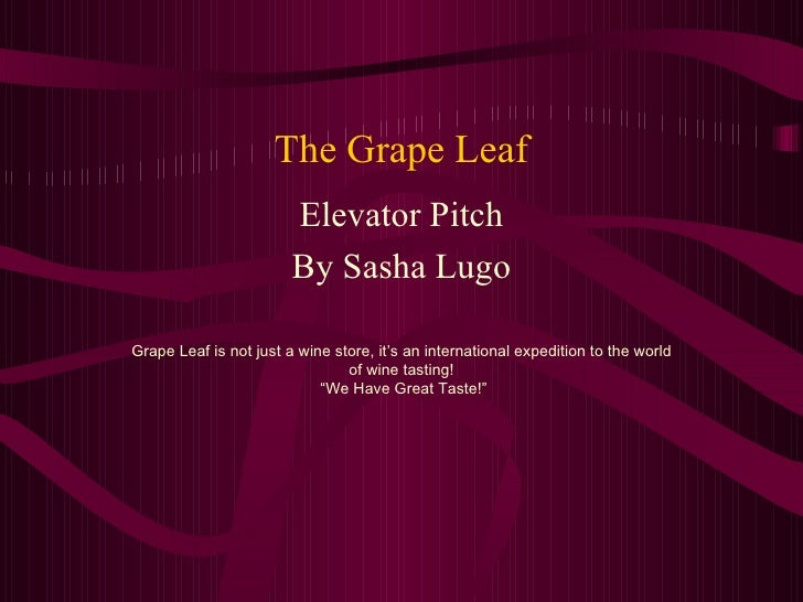 The Grape Leaf Elevator Pitch By Sasha Lugo Grape Leaf is not just a wine store, it's an international expedition to the w...