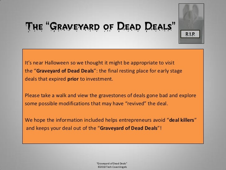 """The """"Graveyard of Dead Deals""""                                            R.I.P.     It's near Halloween so we thought it m..."""