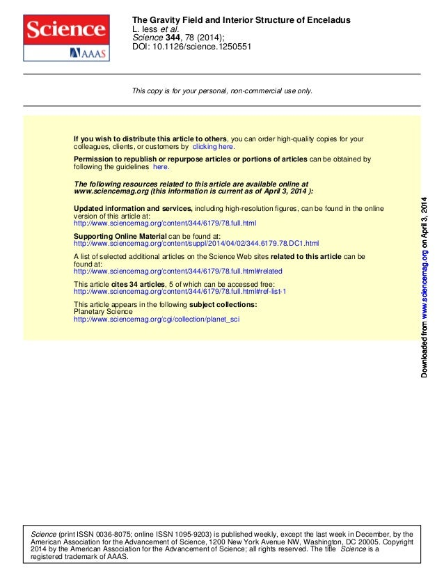 DOI: 10.1126/science.1250551 , 78 (2014);344Science et al.L. Iess The Gravity Field and Interior Structure of Enceladus Th...