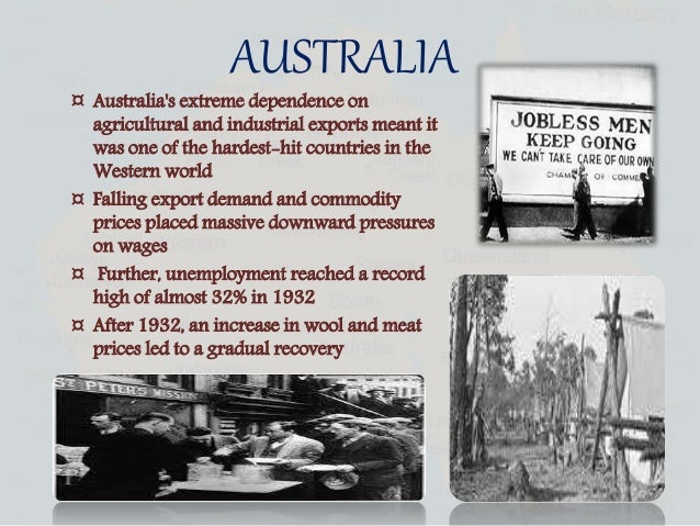 australia in the great depression essays A depression, in economics is described being a deep, extended slump in total business activity buying and selling drop during a depression causing a decline in.