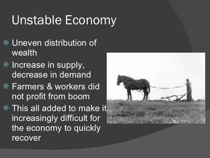 uneven distribution of wealth contributed to the stock market crash of 1929 ♦uneven distribution of wealth ♦stock market speculation buying on the margin ♦excessive use of credit ♦overproduction on consumer goods ♦weak farm economy.