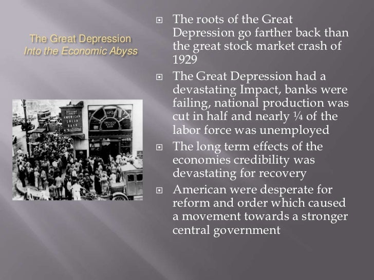 world war i and great depression Best answer: the great war did not cause the great depression after a short interim, the 1920s were a time of great economic growth and a widening prosperty that .