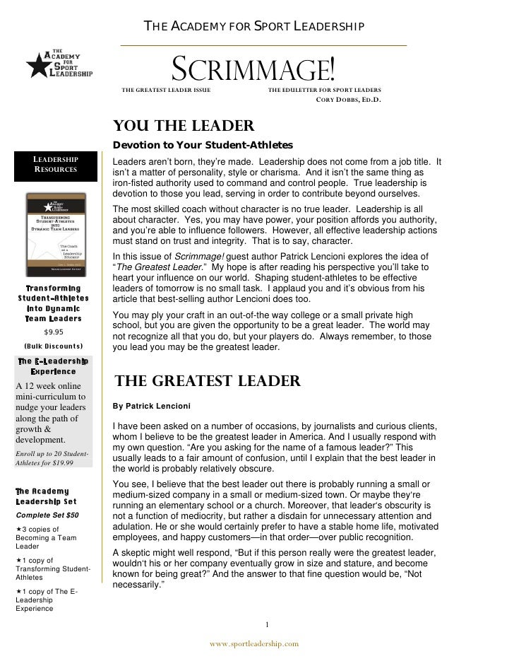 THE ACADEMY FOR SPORT LEADERSHIP                                    THE ACADEMY FOR SPORT LEADERSHIP                      ...