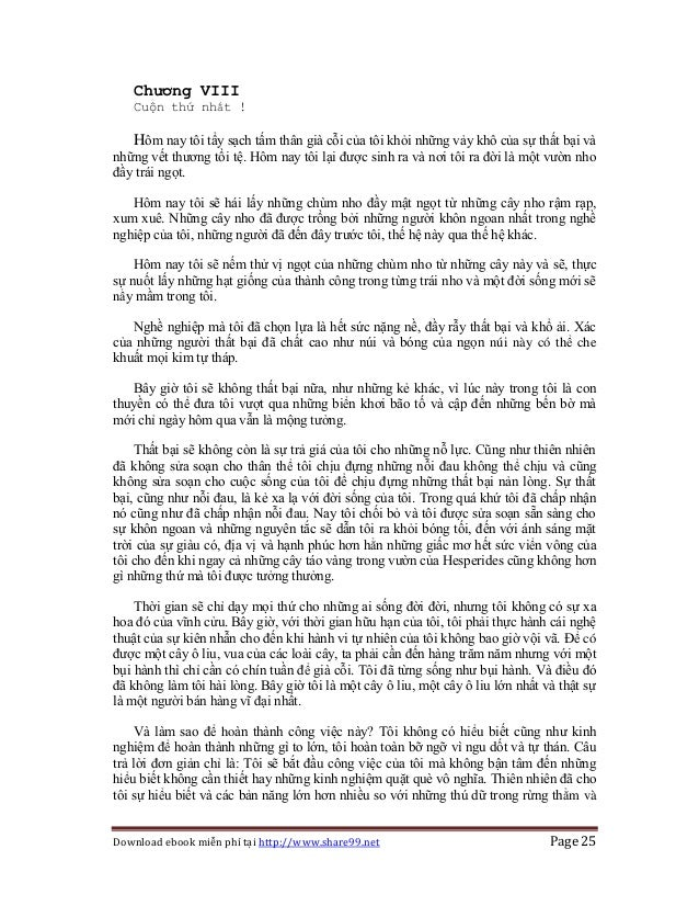 Download ebook miễn phí tại http://www.share99.net Page 25 Chương VIII Cuộn thứ nhất ! Hôm nay tôi tẩy sạch tấm thân già c...