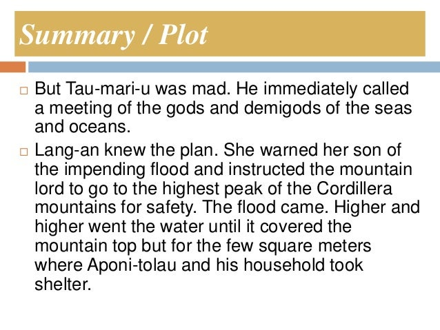 Can please somebody post the summary of THE GREAT FLOOD by tinggian. please. thanks. ö?
