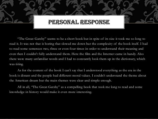 response great gatsby Dozens of top quality, thought-provoking reader response questions for the great gatsby several for each section of the work mult choice test included, too pdf download | teacher's pet.