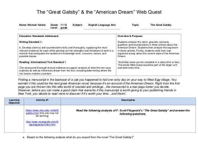 The great gatsby by fitzgerald as an example of the american dream