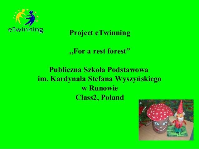 """Project eTwinning        ,,For a rest forest""""   Publiczna Szkoła Podstawowaim. Kardynała Stefana Wyszyńskiego            w..."""