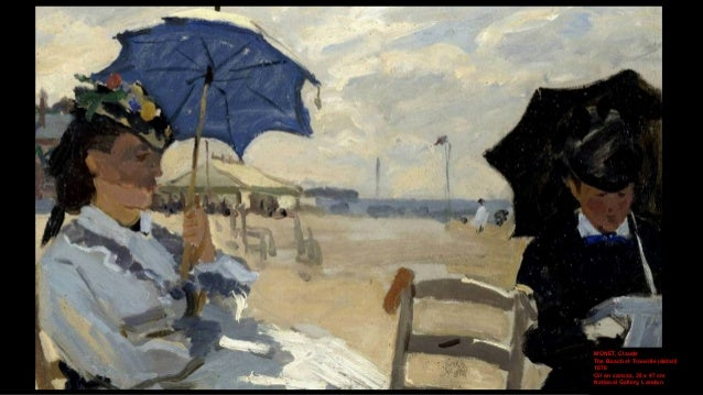 MONET, Claude The Beach at Trouville (detail) 1870 Oil on canvas, 38 x 47 cm National Gallery, London