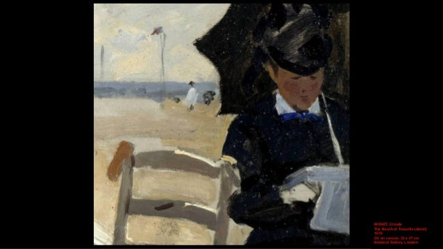 MONET, Claude Camille on the Beach at Trouville (detail) 1870 Oil on canvas, 38.1 x 46.4 cm Yale University Art Gallery