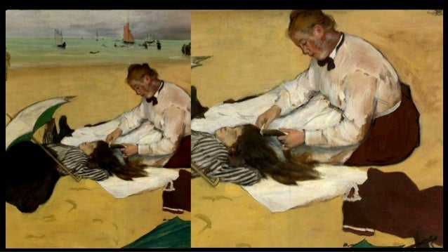 DEGAS, Edgar At the Beach (detail) 1876 Thinned oil on paper on canvas, 46 x 81 cm National Gallery, London