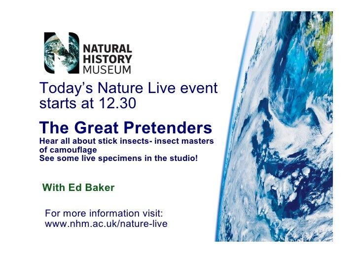 Today's Nature Live event starts at 12.30 Th e G r e a t P re te n d e rs H e a r a ll a b o u t s t ic k in s e c t s - i...