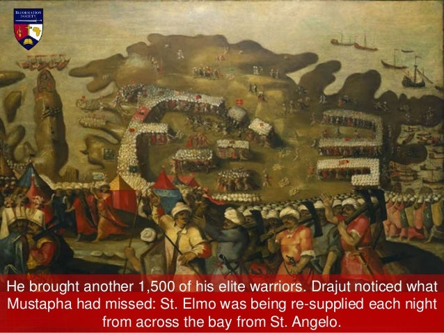 From dawn until noon the battle raged around the bridge and walls of St. Elmo. Yet the flag of the Knights of St. John sti...