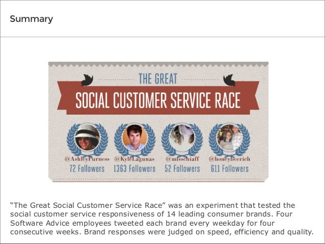 """Summary  """"The Great Social Customer Service Race"""" was an experiment that tested the social customer service responsiveness..."""