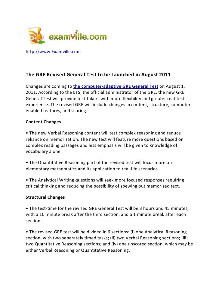 http://www.Examville.com    The GRE Revised General Test to be Launched in August 2011 Changes are coming to the computer-...