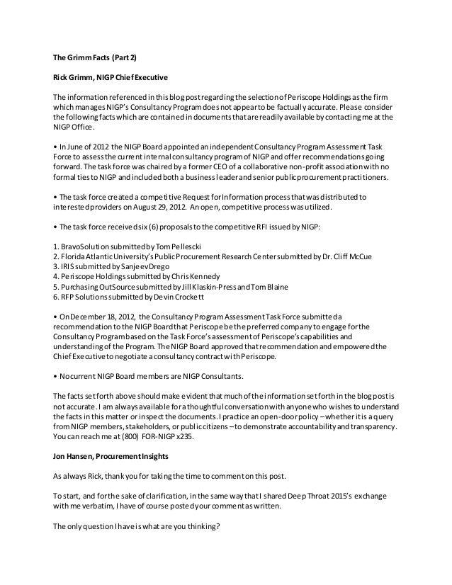 The GrimmFacts (Part 2) Rick Grimm, NIGPChiefExecutive The informationreferencedinthisblogpostregardingthe selectionof Per...